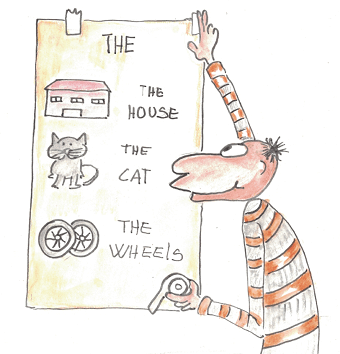 the house, the cat, the wheels, the kids